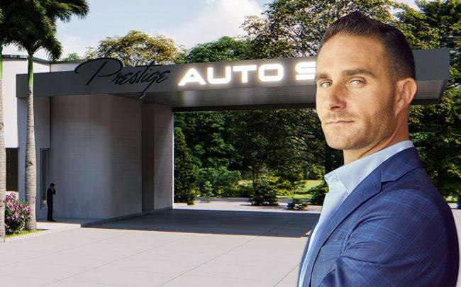 Brett David and a rendering of the auto spa