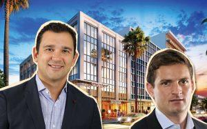 Victor Ballestas and Eduardo Otaola with a rendering of 1674 Meridian Avenue