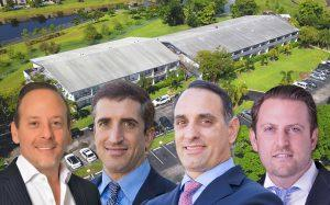 From left: Jacob Serure, Elliot Shainberg, Deme Mekras, and Aaron Kurlansky with California Club Apartments