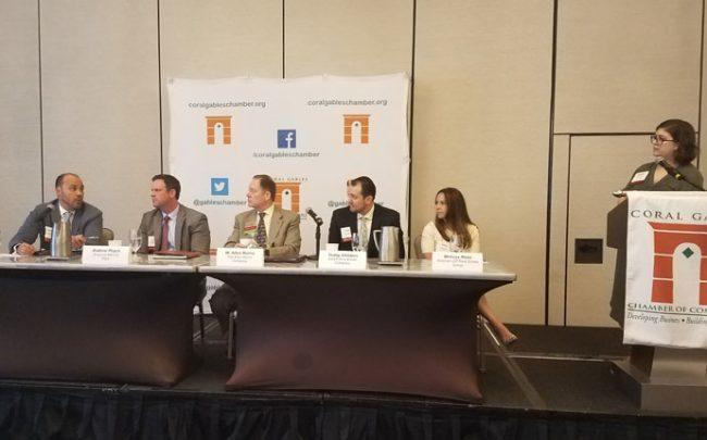 From left: Panelists Jose Antonio Perez Helguera, Andrew Peach, W. Allen Morris, Teddy Childers, Melissa Rose and moderator Katherine Kallergis.