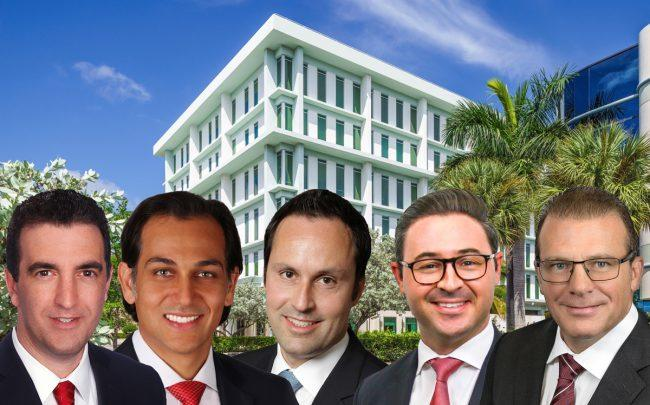 Clockwise from left: Jason Hochman, Dominic Montazemi, Miguel Alcivar, Michael Ciadella, and Scott O'Donnell with 2601 Building