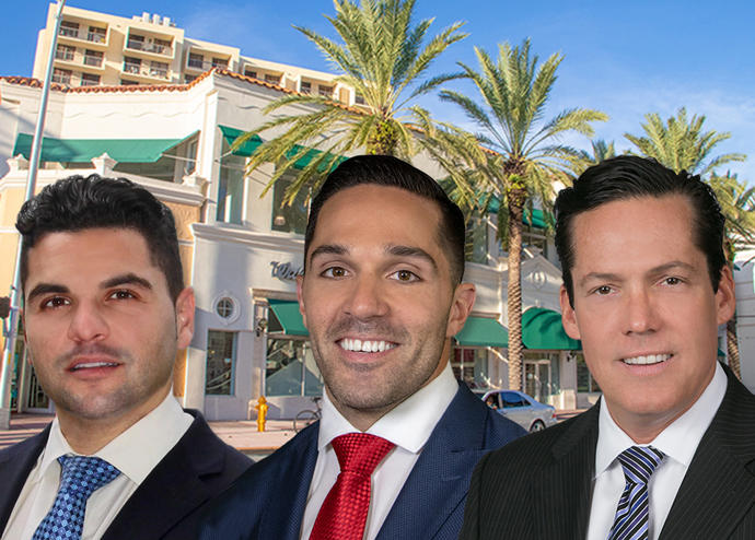 509 Collins Avenue and brokers Gabriel Britti, Ricardo Esteves and Ronnie Issenberg (Credit: Marcus & Millichap)