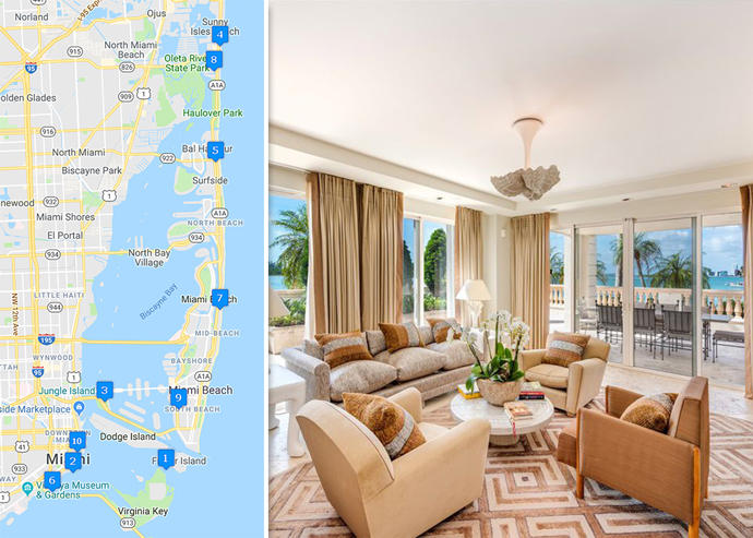 Map of priciest condo sales and Bayview Fisher Island #4911 (Credit: Google Maps and Realtor)