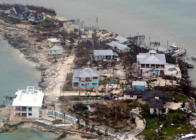 An aerial view of damage caused by Hurricane Dorian (Credit: Getty Images)