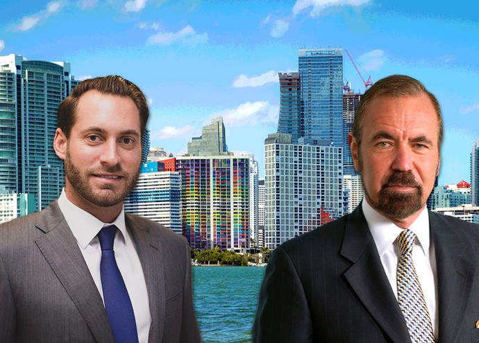 Jon Paul Pérez, Jorge Pérez and the downtown Miami skyline (Credit: iStock)