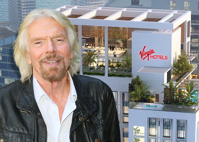 Rendering of Virgin Hotels Miami and Richard Branson (Credit: Getty Images)