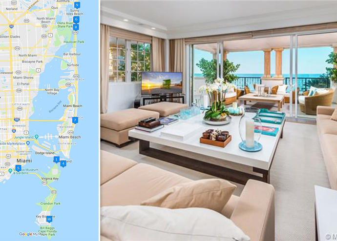 Map of priciest condo sales and unit 7643 at 7643 Fisher Island Drive