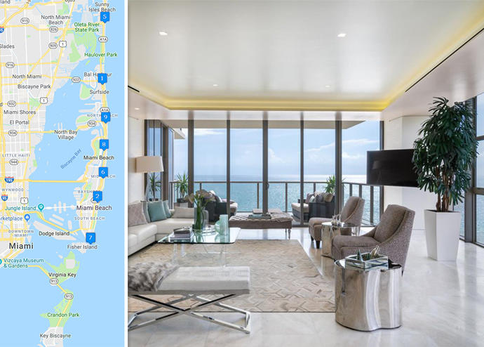 Map of priciest condo sales and St. Regis Bal Harbour unit 1201 South (Credit: Google Maps and Zillow)