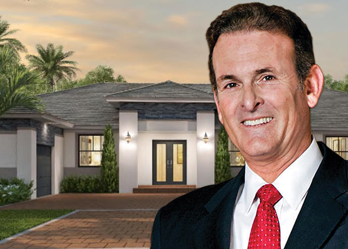 Lennar's Stuart Miller and a rendering of a Sierra Ranch home