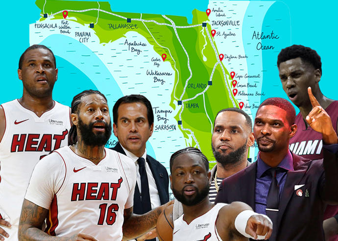 From left: Dion Waiters, James Johnson, Erik Spoelstra, Dwayne Wade, LeBron James, Chris Bosh and Hassan Whiteside (Credit: Getty Images, iStock, Wikipedia Commons)