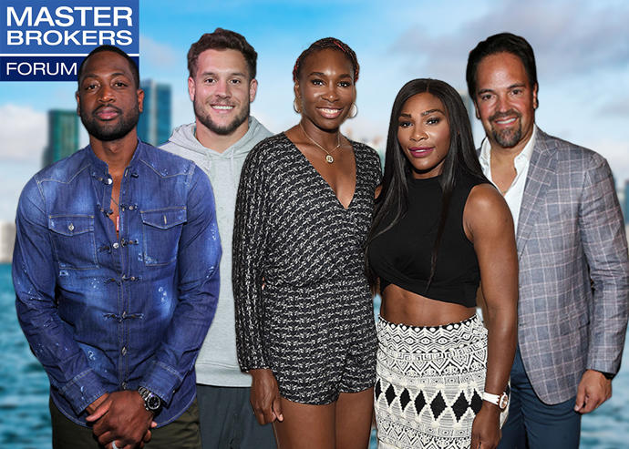 From left: Dwyane Wade, Nick Bosa, Venus and Serena Williams, and Mike Piazza (Credit: Getty Images, iStock)