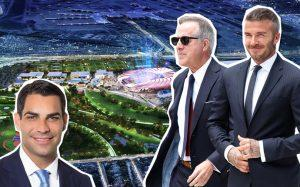 From left: Francis Suarez, Jorge Mas, and David Beckham, with a rendering of the Miami soccer stadium
