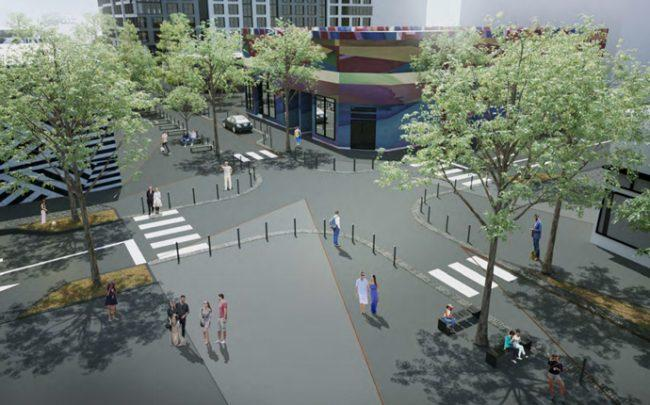 Rendering of the Third Avenue woonerf