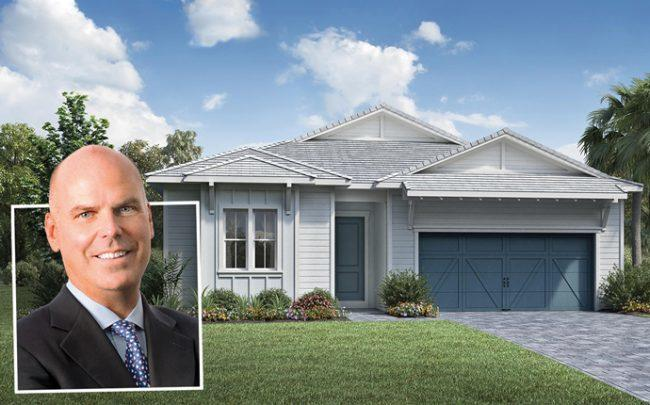 Toll Brothers CEO Douglas C. Yearley, Jr. an a rendering of Avenir Community