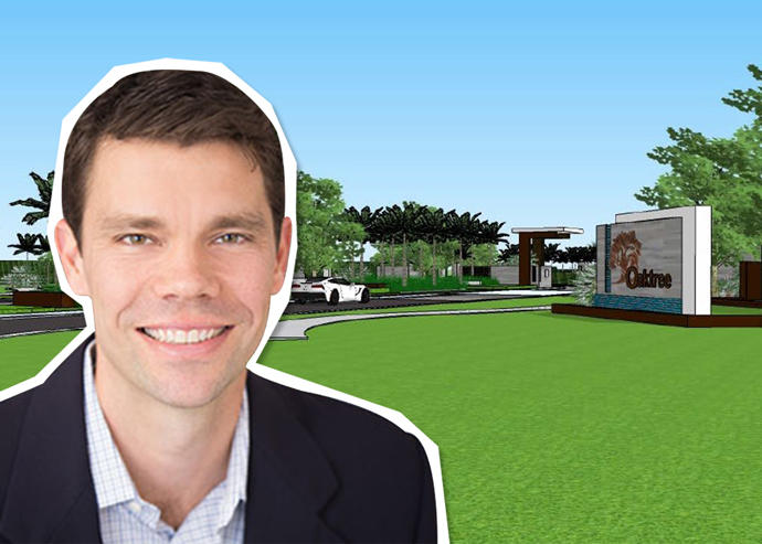 Brent Baker and a rendering of Oak Tree Golf Course