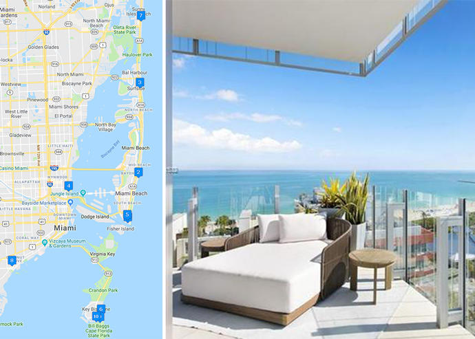 Map of priciest condo sales and Glass #1500 (Credit: Google Maps and Redfin)