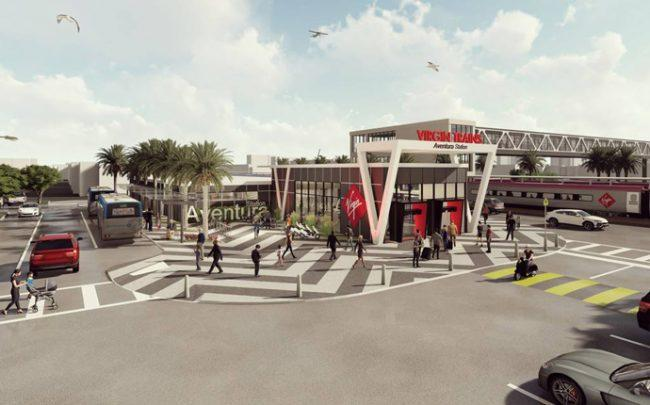 Rendering of the Virgin Trains station in Aventura