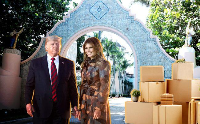 Donald and Melania Trump at the entrance way of Mar-a-Lago (Credit: Getty Images)