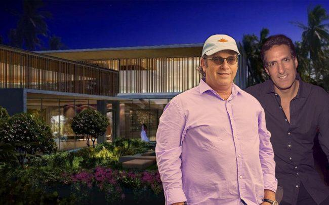 Todd Glaser, Rony Seikaly and a rendering of spec home at 1635 W 22nd Street (Credit: Mary Beth Koeth, Getty Images)