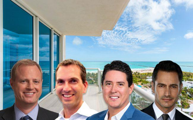 Thomas O'Reilly, John Marshall, Ivan Chorney and Michael Martirena with Continuum North unit 1402/03 (Credit: Douglas Elliman and LinkedIn)
