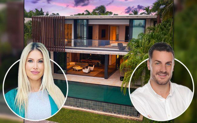 802 West Dilido Drive with agents Dina Goldentayer and Miltiadis Kastanis (Credit: Douglas Elliman)