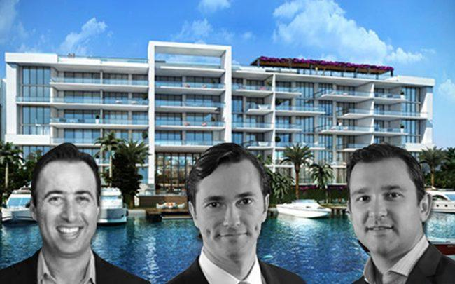 From left: Arnaud Karsenti, Nelson Stabile, and Victor Ballestas with a rendering of Sereno at Bay Harbor Islands