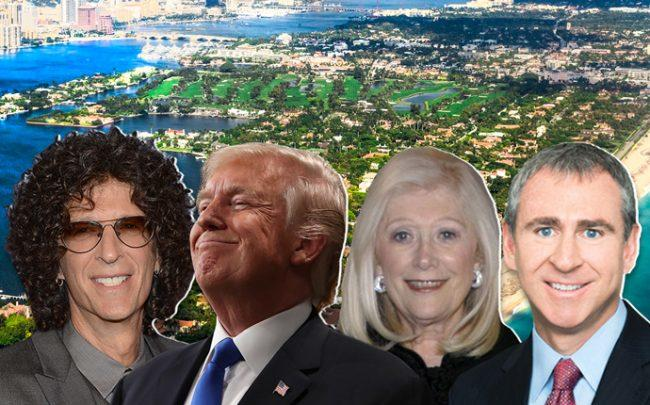 From left: Howard Stern, President Trump, Sydell Miller, and Ken Griffin, with the island of Palm Beach (Credit: Getty Images and iStock)