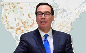 Steven Mnuchin and a map of Opportunity Zones (Credit: Getty Images and Enterprise Community Partners)