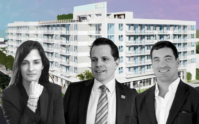 From left: Avra Jain, Anthony Scaramucci and Nick Rojo in front of Affiliated Development's SIX13