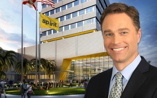 Spirit CEO Ted Christie and a rendering of the future Spirit Airlines headquarters