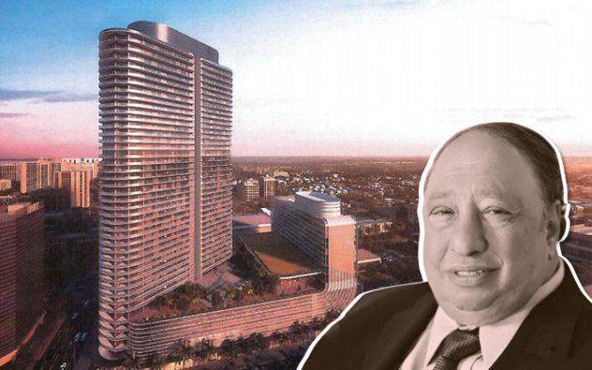 Rendering of the project and John Catsimatidis (Credit: Arquitectonica via Tampa Bay Times)