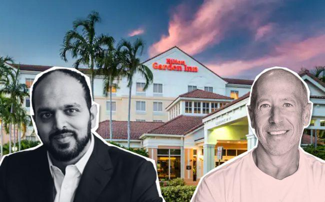 From left: Suril Shah, Barry Sternlich, and 14501 Hotel Road (Credit: Hilton)
