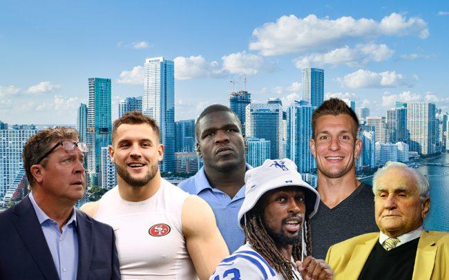 "From left: Dan Marino, Nick Bosa, Frank Gore, T.Y. Hilton, Rob ""Gronk"" Gronkowski, and Don Shula (Credit: Getty Images and iStock)"