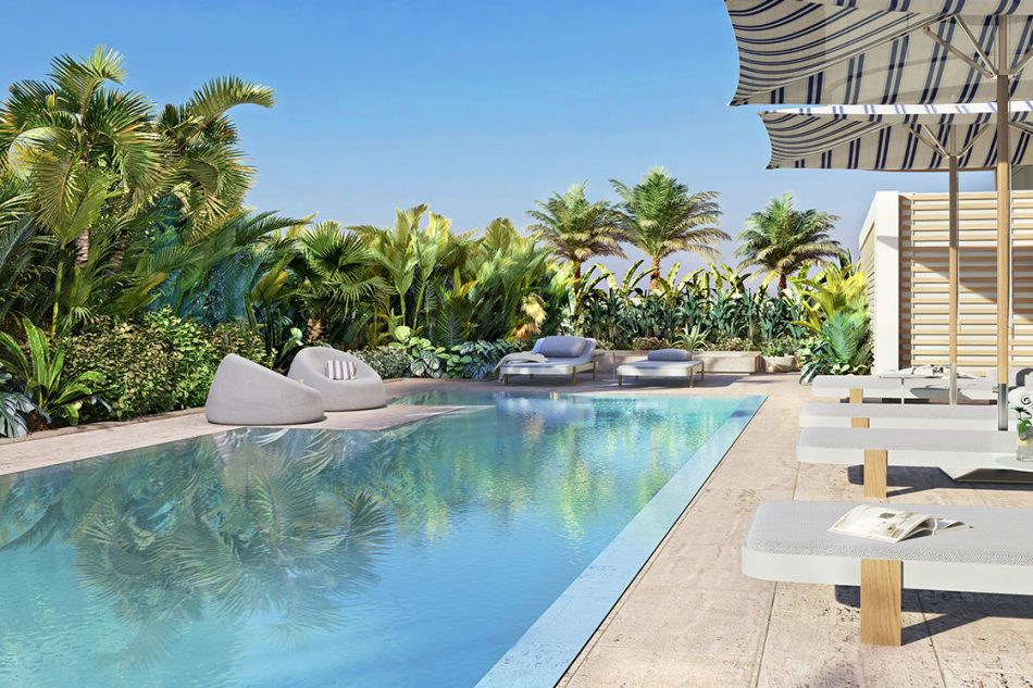 A rendering of the pool at the project
