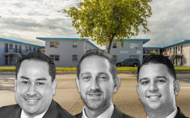 From left: Hernando Perez, Joe Rubin and Oscar Banegas, with 14255 – 14460 NW 22nd Avenue