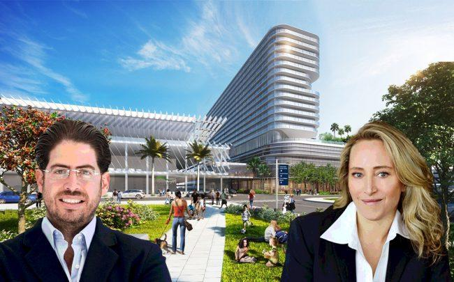 David Martin and Jackie Soffer, with a rendering of the project