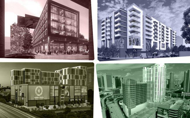 From top left, clockwise: Wynwood 28, the Allapattah apartment building, Miami Riverside Center, and the Target-anchored mixed-use project in Miami's Overtown