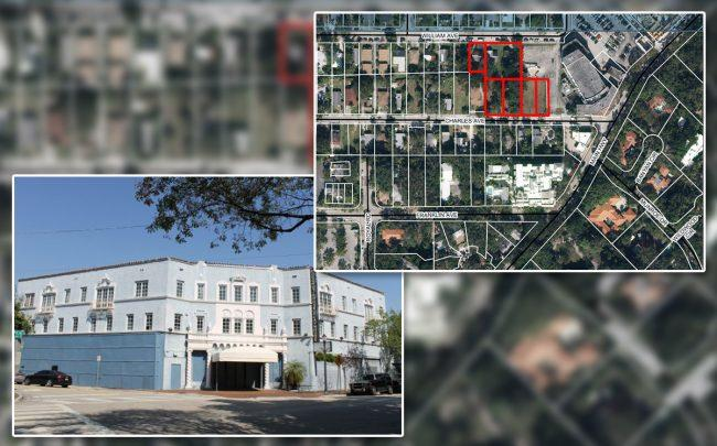 The Coconut Grove Playhouse and a map of the land to be rezoned