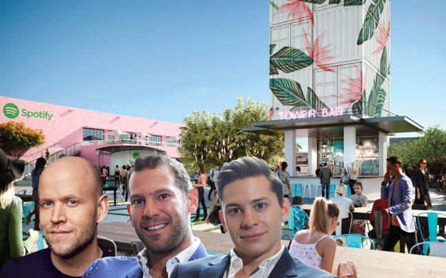 Rendering of the Oasis and Spotify founder and CEO Daniel Ek with David Weitz and Erik Rutter