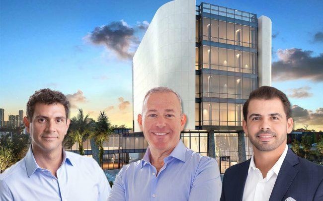 Mauricio Zapata, Lyle Chariff, and Luis Guevara, with a rendering of NeueHouse Miami