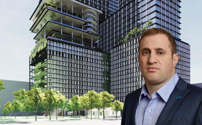 Michael Stern and a rendering of the project (Credit: JDS Development/SHoP Archictects)
