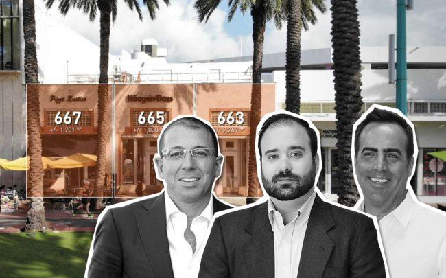 From left: 663 to 667 Lincoln Road, Joe Sitt, Tony Arellano and Devin Marinoff (Credit: DWNTWN REALTY ADVISORS)