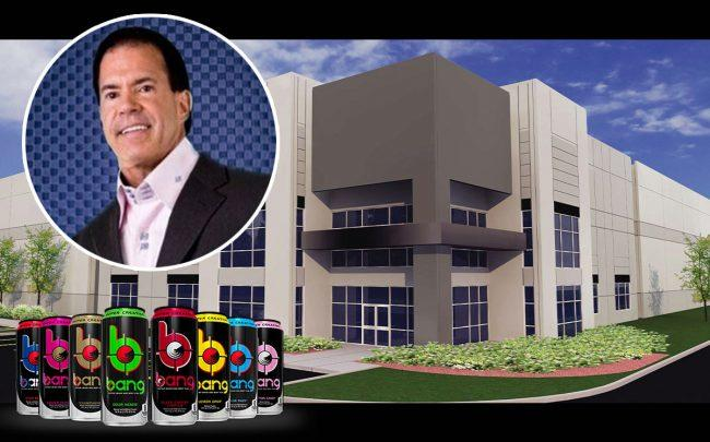 Jack Owoc and a South Florida Distribution Center Building (Credit: Twitter, Bang Energy)