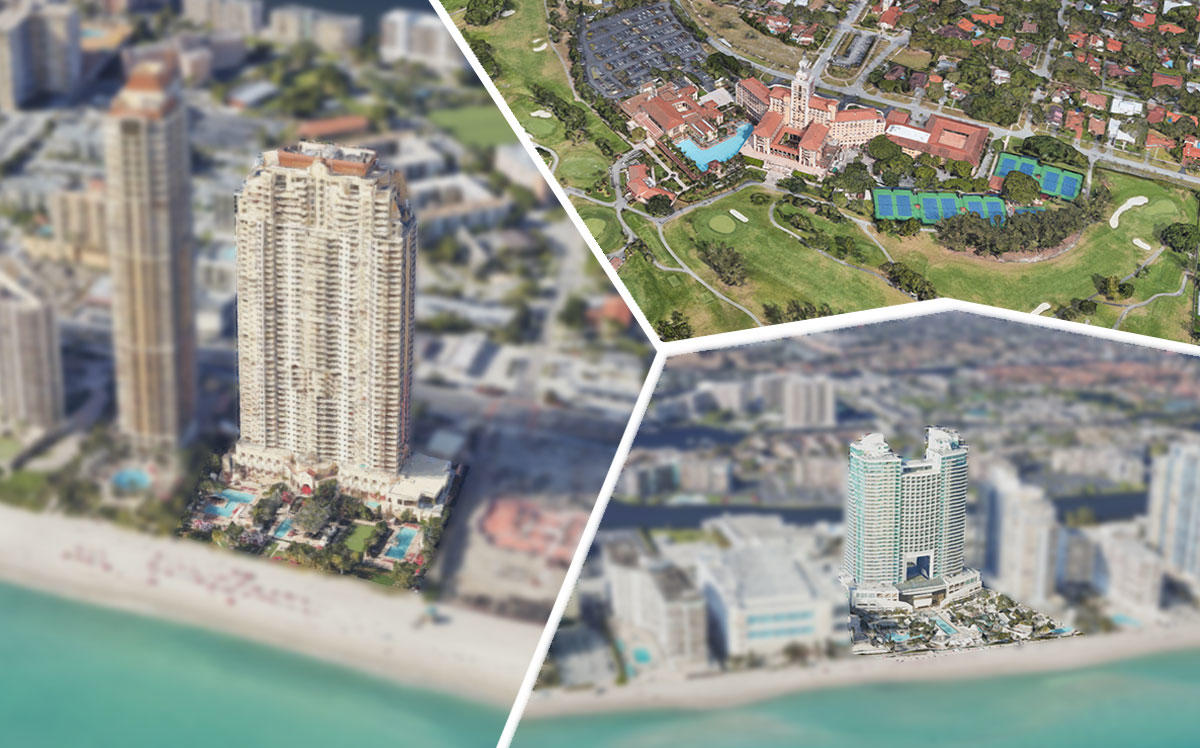 Clockwise from left: the Acqualina, the Biltmore and the Diplomat (Credit: Google Maps)