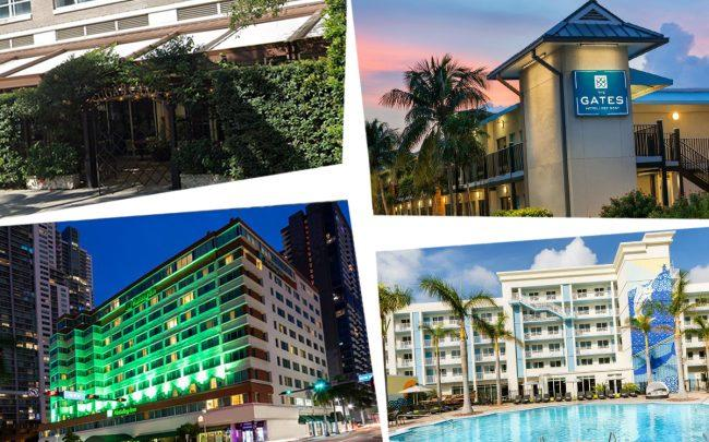 Clockwise from top left: Sugarcane Raw Bar & Grill at 3252 Northeast 1st Avenue, Gates Hotel at 3824 North Roosevelt Boulevard, 24 North Hotel at 3820 North Roosevelt Boulevard and Holiday Inn Port of Miami Downtown at 340 Biscayne Boulevard (Credit: Google Maps, Booking.com)