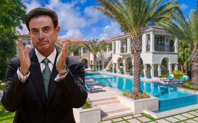 Rick Pitino and 38 Indian Creek Island Road (Credit: Luxhunters, Panagiotis Moschandreou/Euroleague Basketball via Getty Images)