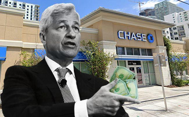 JPMorgan Chase CEO Jamie Dimon (Credit: Win McNamee/Getty Images, Google Maps, iStock)