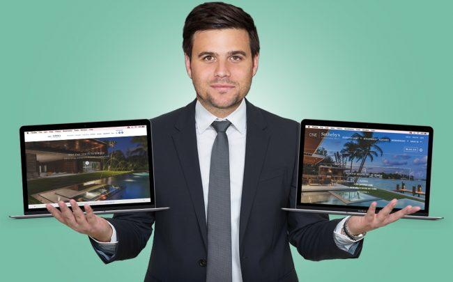 Daniel de la Vega with the previous website and the redesigned version (Credit: iStock)