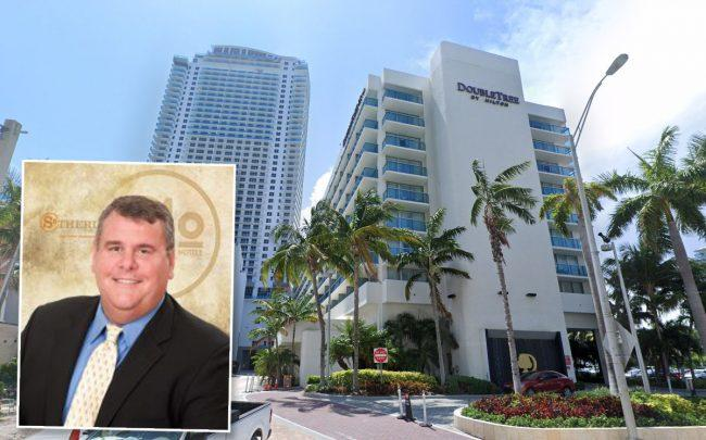Dave Folsom, president & CEO of Sotherly Hotels, and the DoubleTree Resort by Hilton Hollywood Beach at 4000 South Ocean Drive (Credit: Google Maps)