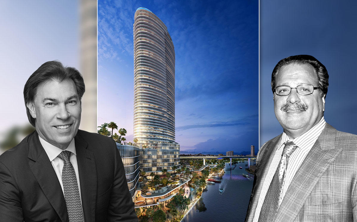 Edgardo Defortuna, Joseph Chetrit and a rendering of the project (Credit: JDS Development Group)